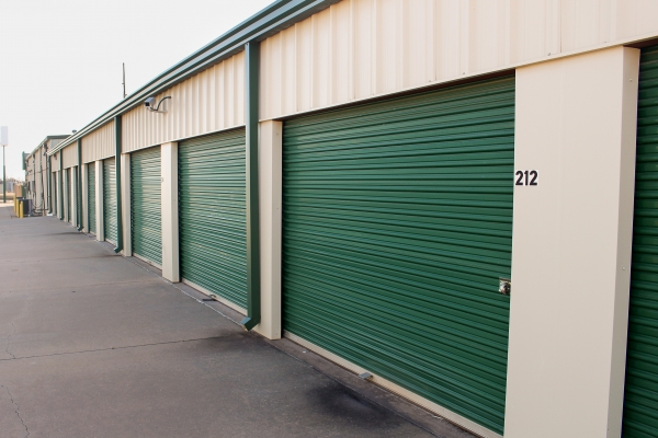 Image of the green metallic doors on some of the larger units avaialable.