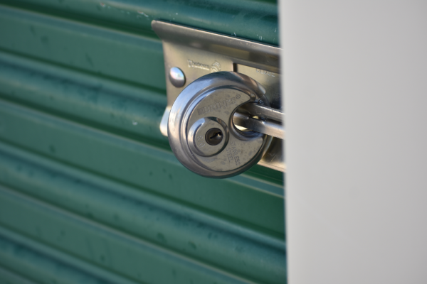 Image of a lock on a storage unit.